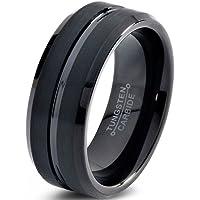 Tungsten Wedding Band Ring 8mm for Men Women Comfort Fit Black Enamel Beveled Edge Polished Brushed