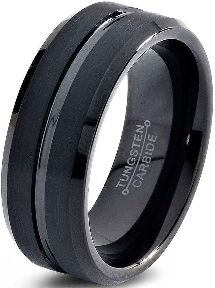 Tungsten Wedding Band Ring 8mm for Men Women Comfort Fit Black Enamel Beveled Edge Polished Brushed Charming Jewelers CJCDN-211