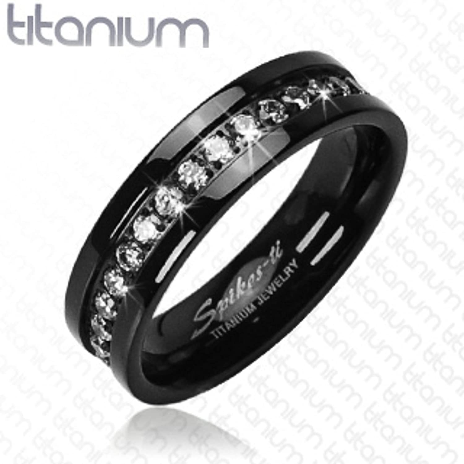 amazoncom his hers 4pc black stainless steel titanium wedding engagement ring band set size womens 05 mens 06 jewelry - Womens Black Wedding Ring Sets