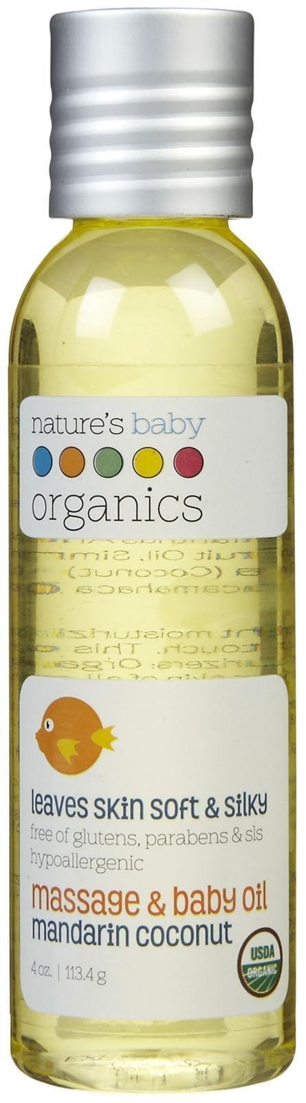NBO Baby Oil - Mandarin/Coconut - USDA-95% Organic - 4 oz by Nature's Baby Organics