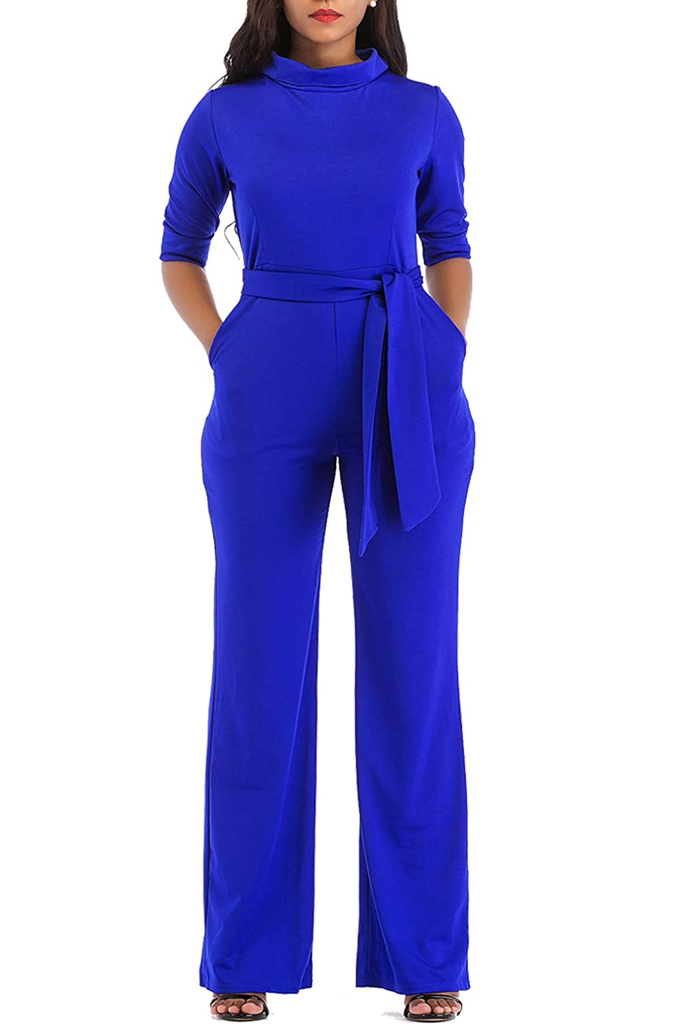 KISSMODA Womens Elegant Wide Leg Work Jumpsuits Long Fitted Romper Pants Half Sleeve with Belt - Blue - XL: Amazon.co.uk: Clothing