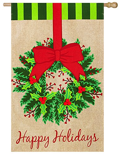 Evergreen Flag & Garden 13B3446BL Christmas Wreath House Flag, 28