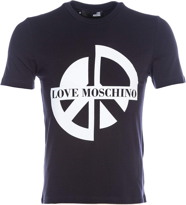 LOVE MOSCHINO PEACE LOGO PRINT T-SHIRT NAVY BLUE /& WHITE