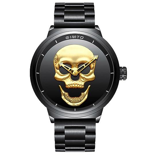 Hombre de cráneo creativo reloj Cool acero inoxidable grande dial Vintage Boy cuarzo reloj militar (Oro negro)
