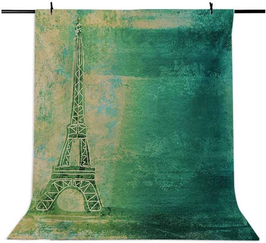 Eiffel Tower 10x15 FT Photo Backdrops,Eiffel Tower Colorful Gradient Sketch in Ombre Style Drawing French Print Background for Baby Birthday Party Wedding Vinyl Studio Props Photography Teal Mustard