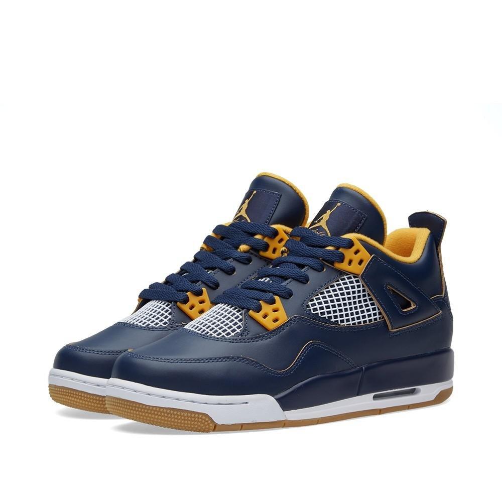 Jordan Air 4 Retro BG Big Kid's Shoes Midnight Navy/Metallic Gold/Gold Leaf/White 408452-425 (6.5 M US)