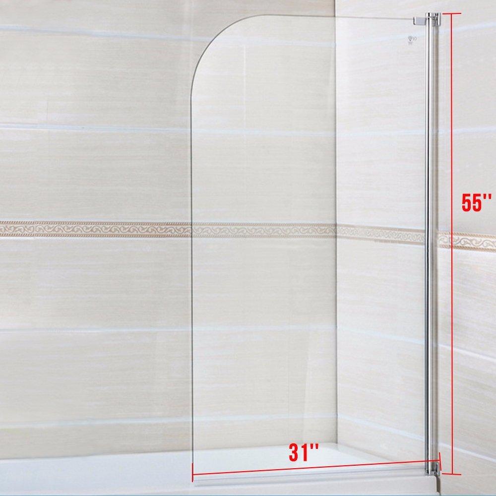 Mecor 55''X31'' Bathtub Shower Door 1/4'' Clear Glass Hinged Pivot Radius Frameless Chrome Finish by mecor (Image #6)