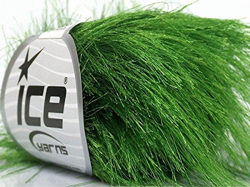 Grass Green Extra Long Eyelash Yarn Ice Luxurious Fun Fur 50gr - Long Yarn Eyelash