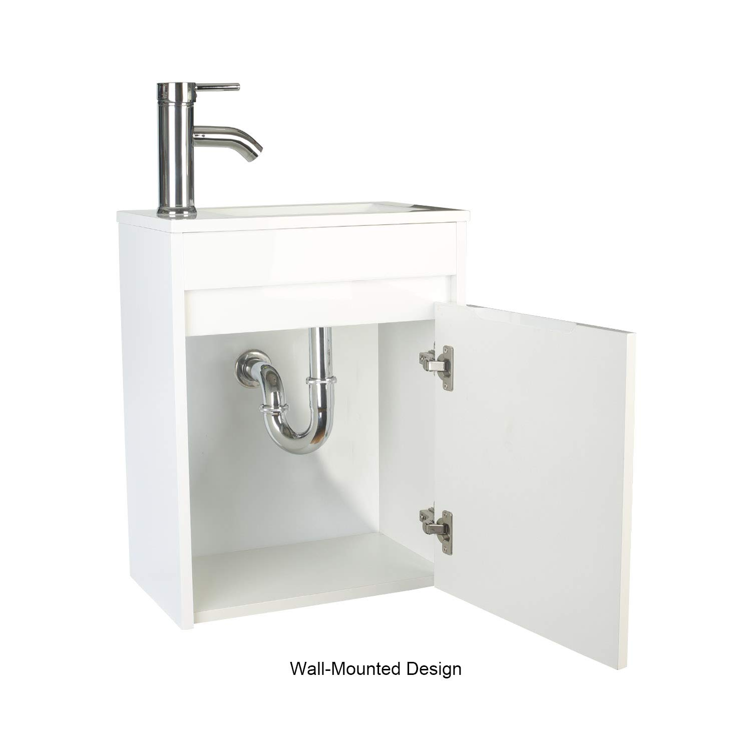 . eclife Bathroom Vanity W Sink Combo  16  for Small Space MDF Paint Modern  Design White Wall Mounted Cabinet Set  White Resin Basin Sink Top  Chrome