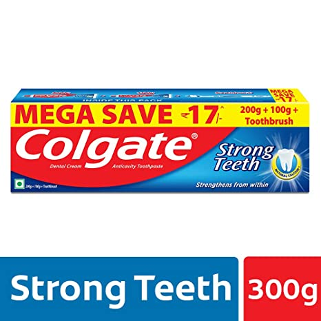 detailed look 3acbe b0724 Buy Colgate Strong Teeth Anti-Cavity Toothpaste - 300g with Free Toothbrush  (Saver Pack) Online at Low Prices in India - Amazon.in
