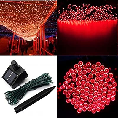 1Pc Leading Popular 200x LED Solar Power Nightlight Home Decor Yard Bright Romantic Tree Colors Red