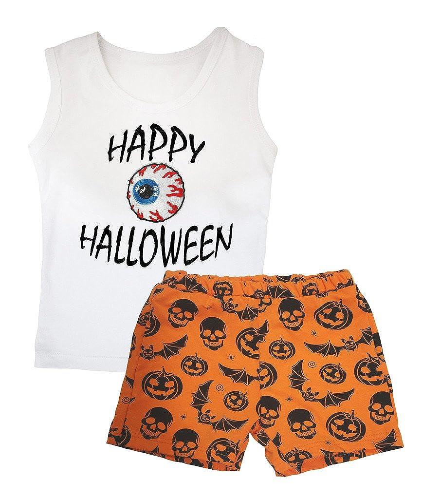 Petitebella Happy Halloween Eyeball White Vest Pumpkin Bat Orange Short Set 1-8y