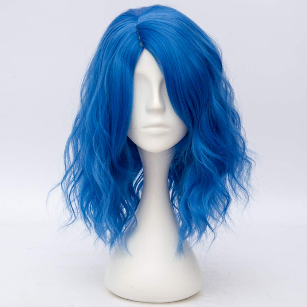 AZHENGGQIAN Dark Blue Curly Role Playing Synthetic Wig