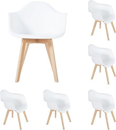 DORAFAIR Lot de 6 Chaises de Salle à Manger Fauteuils Scandinave Chaise de Bureau,Design rétro Jambe de Bois de hêtre Massif Blanc