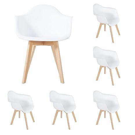 DORAFAIR Pack de 6 Sillón Tower Blanco Sillón de Comedor Sillas Nordic Escandinava, Sillas Modernas con Las piernas de Madera de Haya Maciza