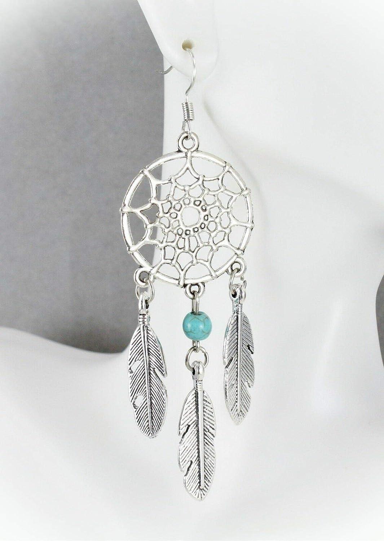 Unique Southwestern Designs Dangle Earrings Native American Jewelry Sterling Silver Dream Catcher Earrings Long Running Bear Feathers