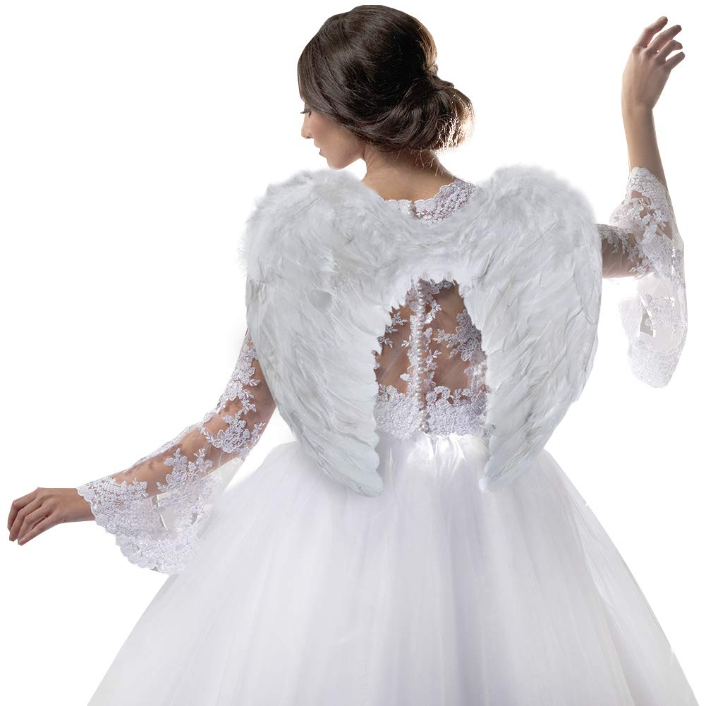 SUNBOOM Angel Wing Feather Halloween Costume, Cosplay Christmas Wings for Kids and Adults, White Large Angel Wing