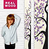 Growth Chart Art | Wooden Floral Growth Chart for Kids [Girls] - Kids Room Décor Height Chart - Durable, Portable, Beautiful Measurement Blossom Wall Décor (Purple Flower)