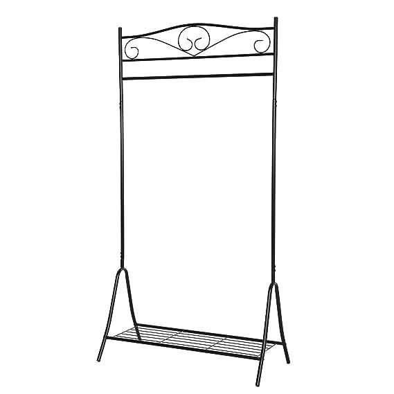 SONGMICS Perchero de Metal para Prendas Soporte para Colgar Ropa Estilo clásico Color Negro 173 x 90 x 44,5cm HSR01B: Amazon.es: Hogar