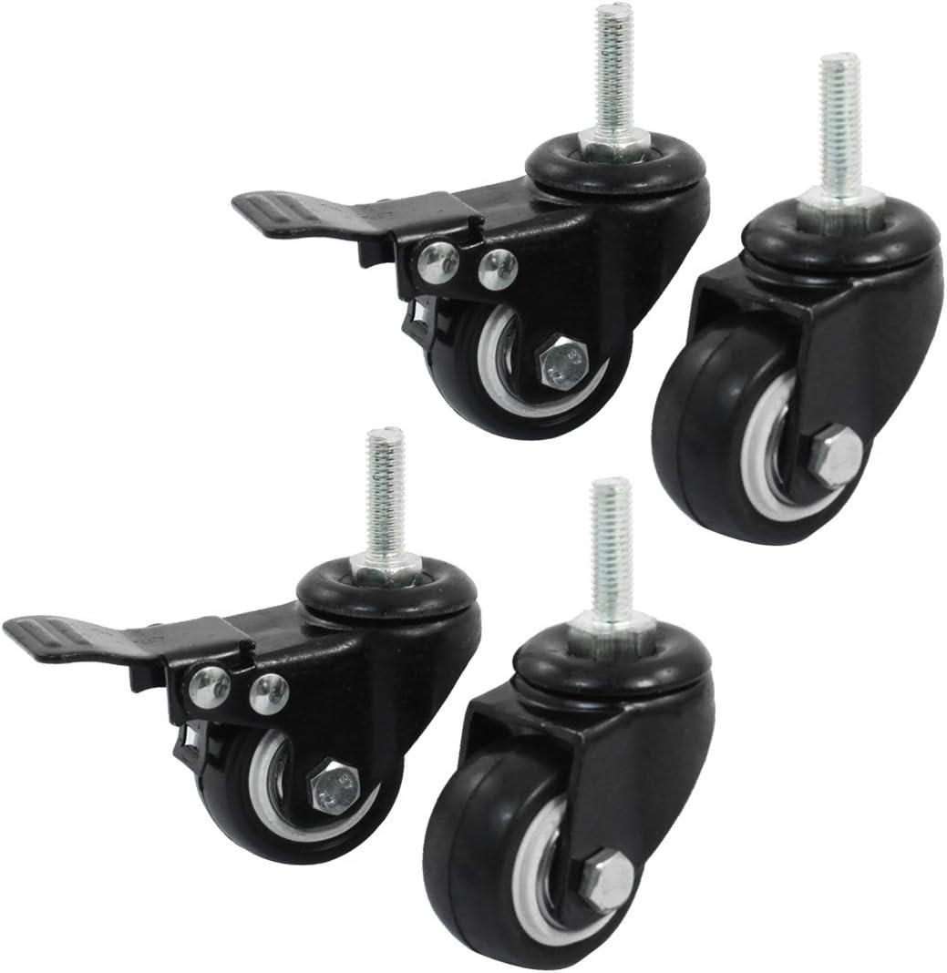 uxcell a14071600ux0660 Shopping Wheel Trolley Brake Swivel Caster, 1.58-Inch, Black, 4-Piece