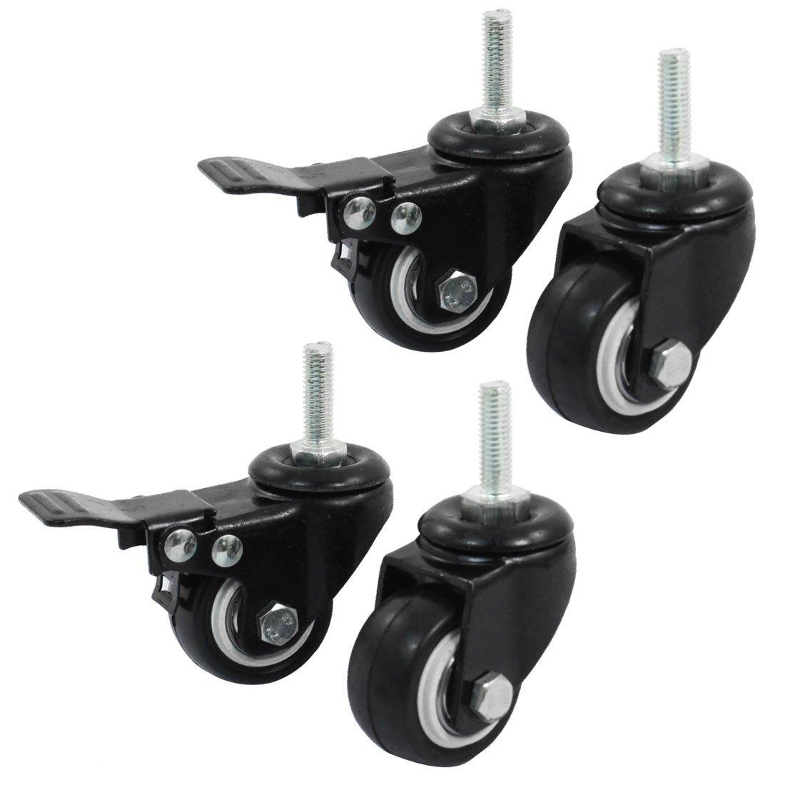 Uxcell a14071600ux0660 Shopping Wheel Trolley Brake Swivel Caster 1.5 Inch Black 4 Piece
