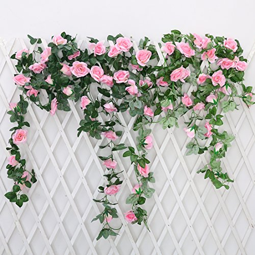 JUSTOYOU 7.2ft Artificial Rose Flower Silk Vines Fake Garland For Wedding Arch Home Festival Decor Pack of 2 (Garland Wedding Arch Decor)