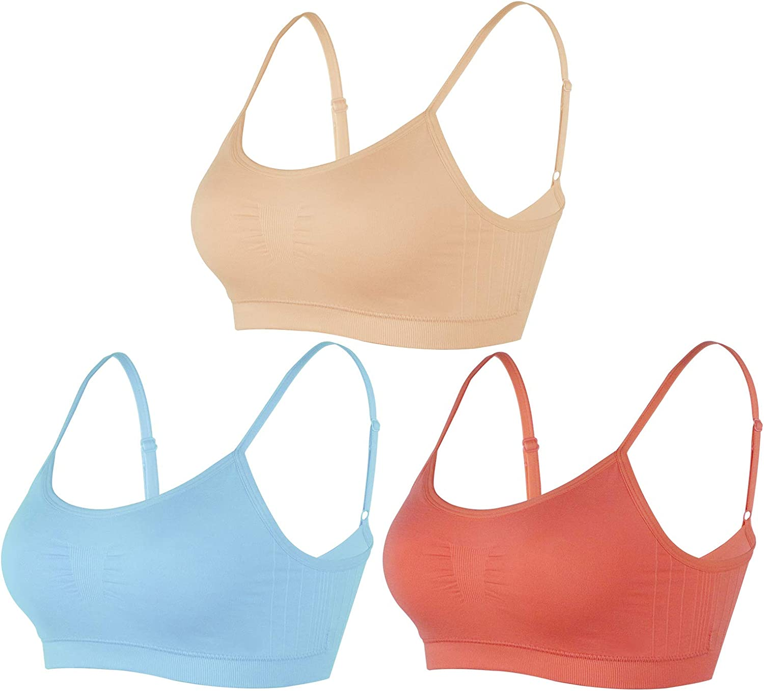 BANG BANG Women's Seamless Sports Bra with Removable Pads Spaghetti Strap Yoga Bras 1-4 Pack
