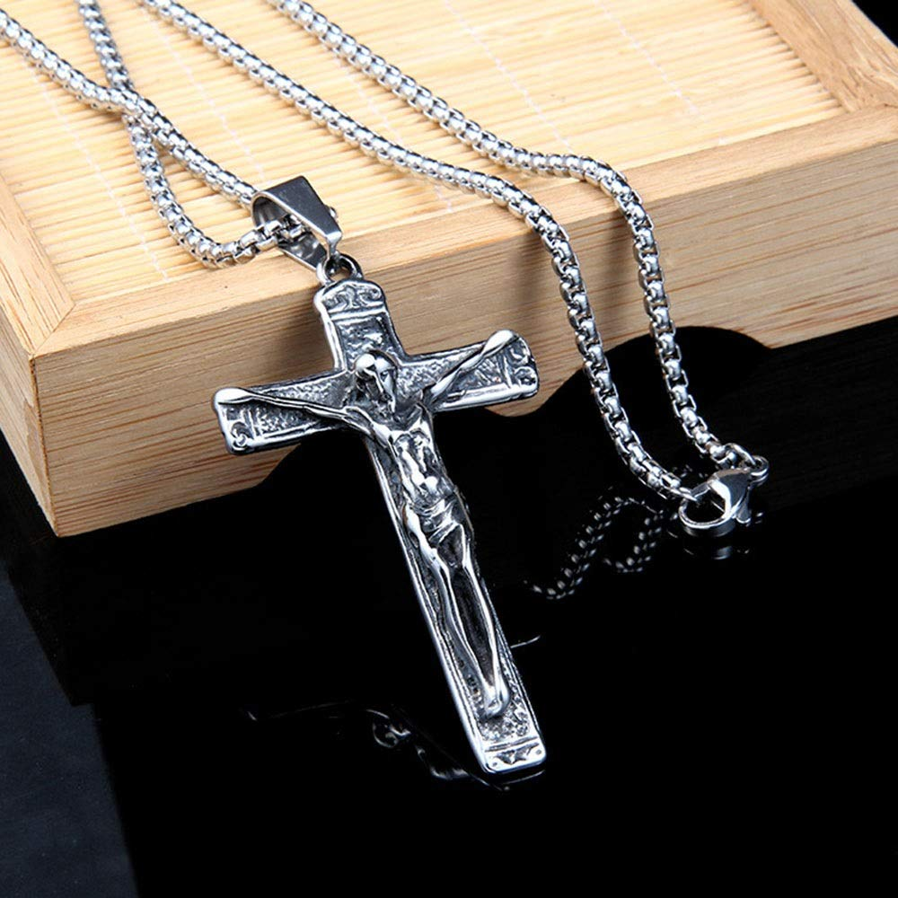 Punk Necklace Pendant Mens Retro Punk Stainless Steel Cross Pendant Gothic Stainless Steel Pendant Necklace Silver Black Very Nice Gift Great Gift For Anyone Color : Silver Black , Size : Pendant