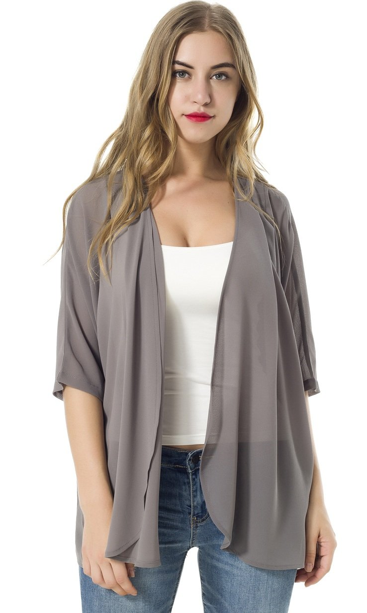 TownCat Women's Chiffon Loose Casual 3/4 Sleeved Blouse Comfortable Breathable Thin Cardigan Sweater (L, Grey)