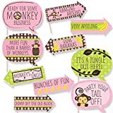 Funny Pink Monkey Girl - Baby Shower or Birthday Party Photo Booth Props Kit - 10 Piece