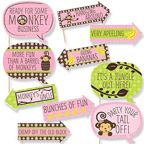 Funny Pink Monkey Girl - Baby Shower or Birthday Party Photo Booth Props Kit - 10 Piece by Big Dot of Happiness
