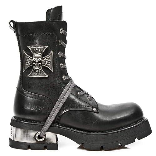 New Rock M.1623-S1 Botas Botines Hombre Caballero Negro Cuero Piel Tacón Motorista Motero: Amazon.es: Zapatos y complementos