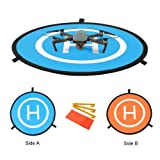 "Kingwon RC Drone Quadcopter Helicopter 30"" Landing Pad Collapsible Helipad Dronepad Launch Pad with Carrying Bag for DJI Spark Mavic Pro Phantom 2 3 4 Inspire 1 Yuneec Typhoon Outdoor Accessories 75cm 30inch"