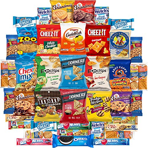 Ultimate Snacks Sampler Care Package (50 Count) - Bulk Cookies, Chips, Crackers, Candy, Mixed Bars Variety Pack - Friends & Family, Military, College Food Box by Variety -