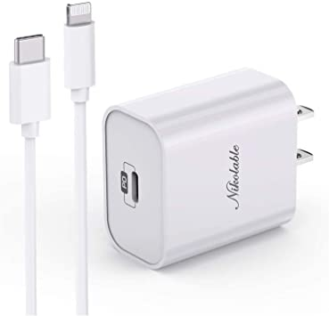 iPhone 12 Fast Charger - Nikolable USB C Wall Charger MFi Certified with 6FT C to Lightning Cable, Power Delivery Adapter Support Quick Charging for iPhone 12 Pro 11 Pro Max XR XS 8 Plus iPad Pro