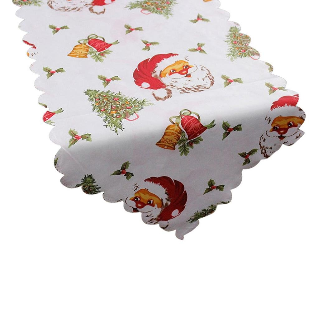 Merry Christmas Decoration Santa Claus Tapestry Poinsettia Table Runner 14x71 Inch (B)