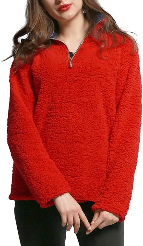Mordarli Women's Teddy Fleece Hoodie Casual Tops Sweatshirt Pullover Jacket