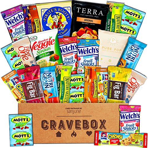 CraveBox - Healthy Snacks Care Package (25 Count) - Variety Assortment with Fruit Snacks, Granola Bars, Popcorn and More, Gift Snack Box for Lunches, Offices or College (Road Trip Gift Box)