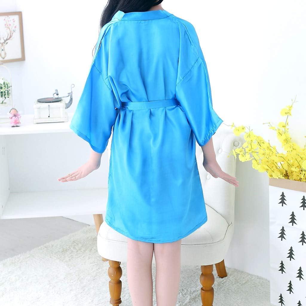 squarex Baby Sleepwear Kids Girls Solid Silk Satin Kimono Robes Bathrobe Sleepwear Clothes