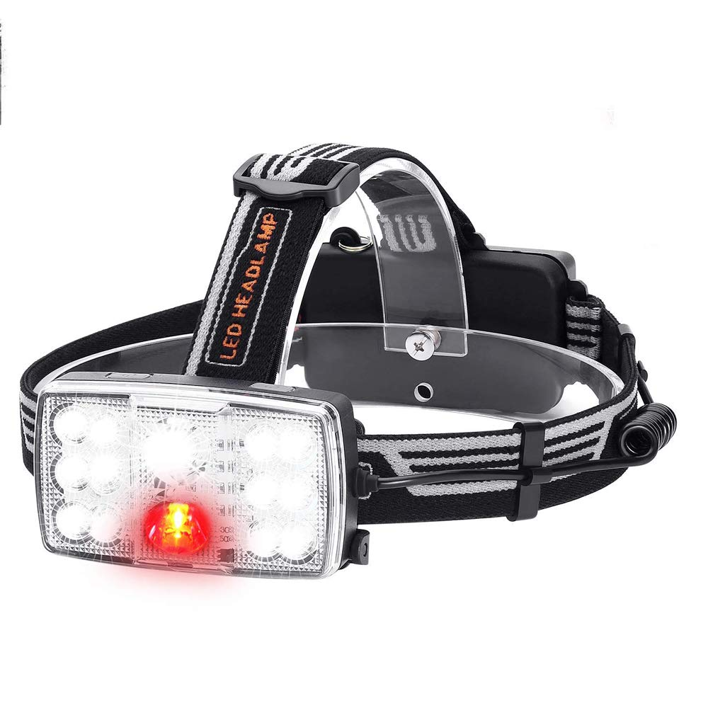 KLSHW LED 14 Headlights USB Charging Glare Outdoor Waterproof Night Fishing Headlights Red Light Warning Light