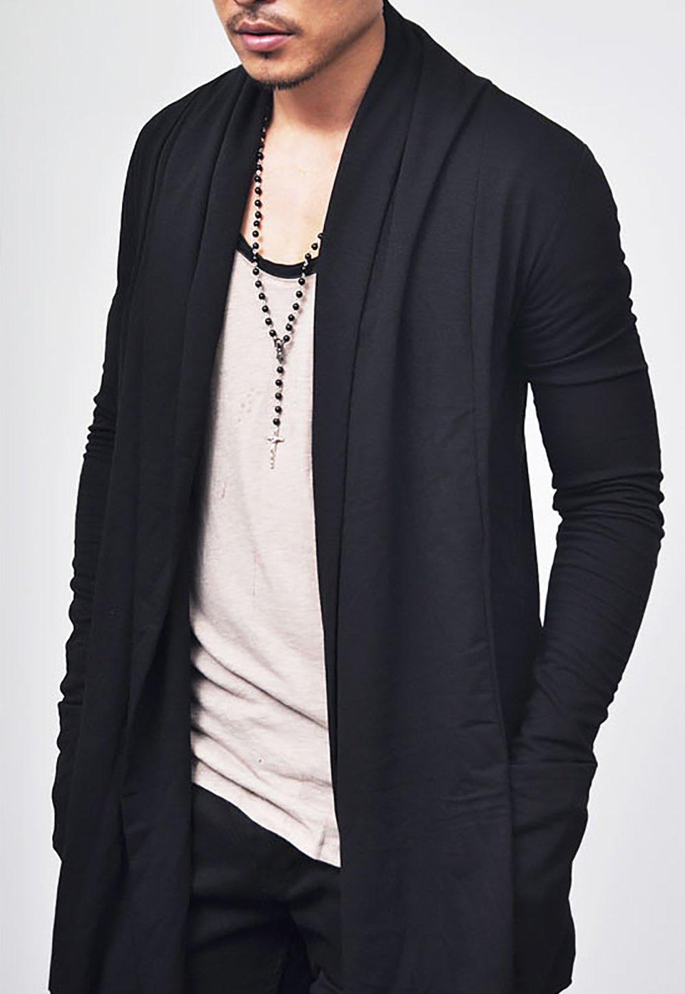 COOFANDY Men's Ruffle Shawl Collar Long Sleeves Cardigan (Medium, Black) by COOFANDY (Image #3)