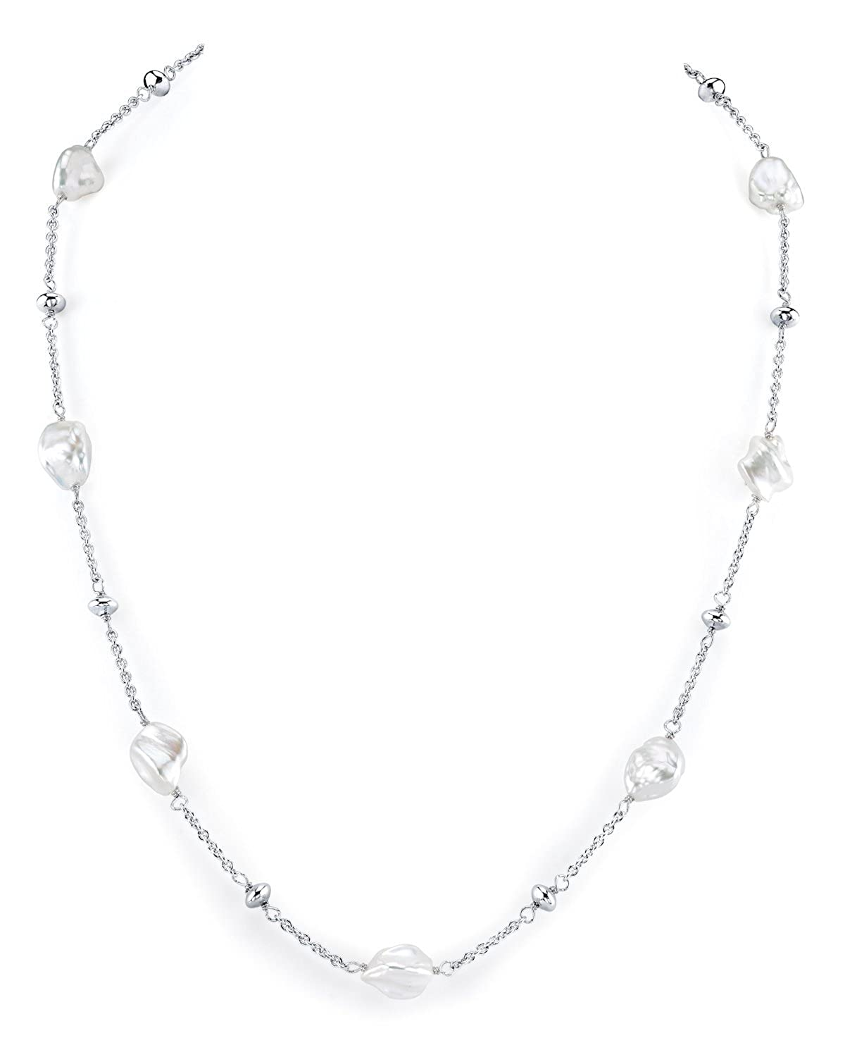 Keshi Shaped Freshwater Cultured Pearl Link Necklace