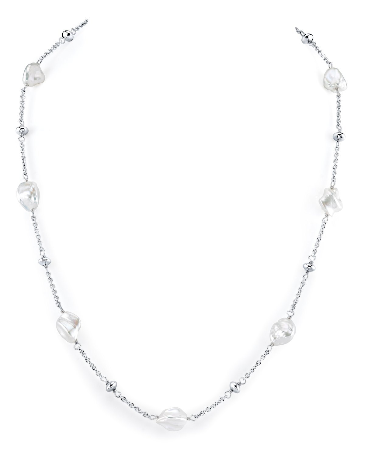 7-8mm Keshi Genuine White Freshwater Cultured Pearl Link Necklace for Women