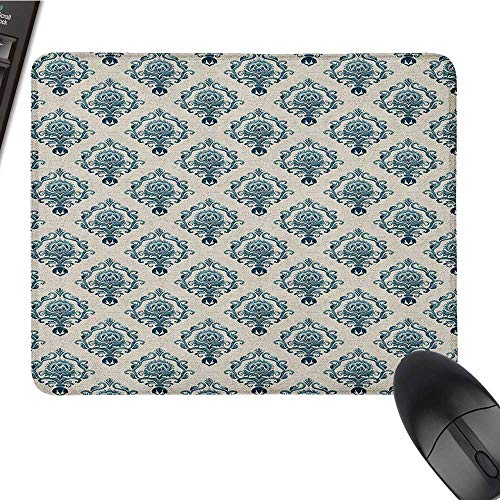 Gaming Mouse pad Damask,Nostalgia Themed Composition with Baroque Blooms and Hand Writing Backdrop, Tan Petrol Blue Customized Mouse Pad 15.7 x23.6 -