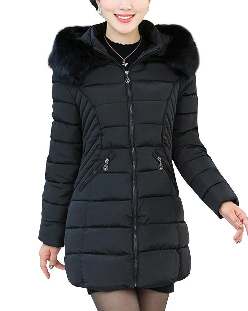 Mujeres de mediana edad Down abajo chaqueta Mezcla de algodón Abrigo Encapuchado Chaqueta casual del...