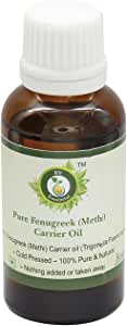 Fenugreek Oil | Methi Oil | Fenugreek Seed Oil | For Massage | For Hair Growth | For Breast Enlargement | Trigonella Foenumgraecum | 100% Pure Natural | Cold Pressed | 30ml | 1.01oz By R V Essential