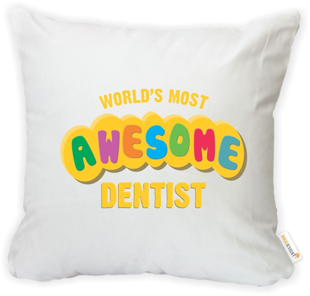 Insert Included Printed in The USA Rikki Knight 16 x 16 inch Rikki KnightWorlds Most Awesome Dentist Microfiber Throw Pillow Cushion Square with Hidden Zipper