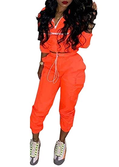 32a69b20bb9d Women's Sexy 2 Piece Outfits Long Sleeve Stripe Reflective Jacket Pants  Tracksuit Set (Orange,