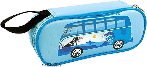 BRISA VW Collection - Volkswagen Furgoneta Hippie Bus T1 Van Estuche para lápices de polipiel (PU), Caja de papelería, Bolso de Maquillaje-Cosméticos, para Escuela/Oficina/Regalo (Surf/Azul): Amazon.es: Coche y moto