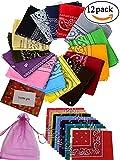 BS 12pcs Bandanas 2222 Inch 100% Cotton Novelty Double Sided Print Paisley Cowboy Bandana Party Favor Scarf Headband Handkerchiefs, One Dozen